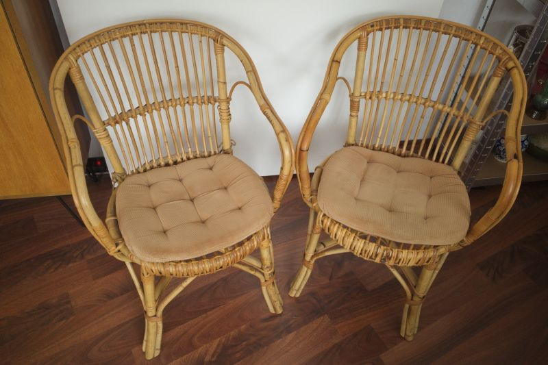 2 Rattan Stühle von Rohè, Noordwolde, Holland Vintage 50er 60er 1