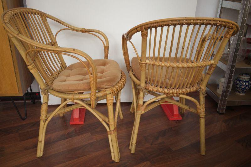 2 Rattan Stühle von Rohè, Noordwolde, Holland Vintage 50er 60er 2