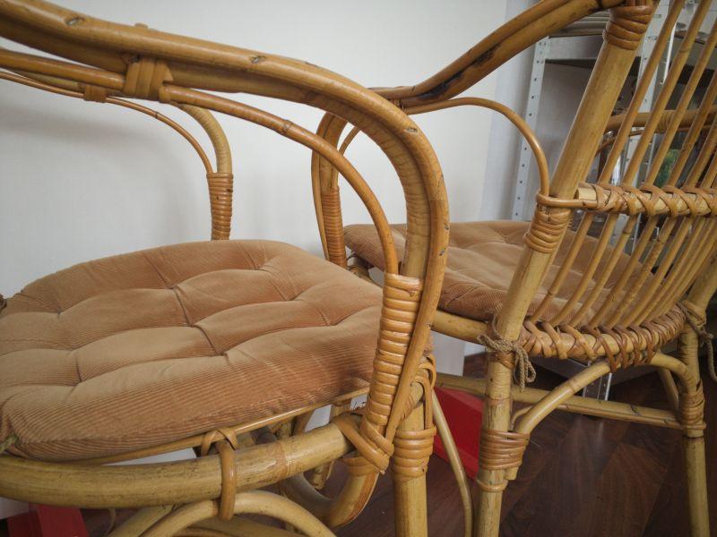 2 Rattan Stühle von Rohè, Noordwolde, Holland Vintage 50er 60er 3