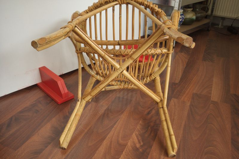 2 Rattan Stühle von Rohè, Noordwolde, Holland Vintage 50er 60er 8