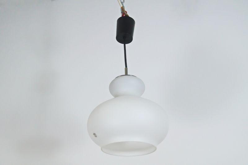 Pendelleuchte Hängelampe Peill & Putzler weiß Glas Lampe 60er 70er Jahre