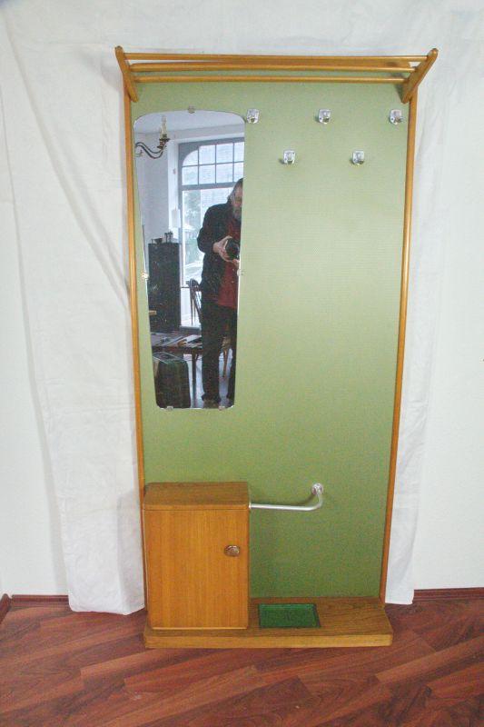 Vintage Garderobe Standgarderobe Grün wie Veralux 50er 60er Jahre mit Spiegel 1