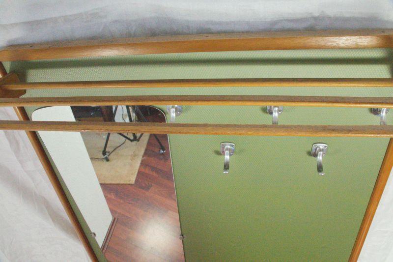 Vintage Garderobe Standgarderobe Grün wie Veralux 50er 60er Jahre mit Spiegel 4