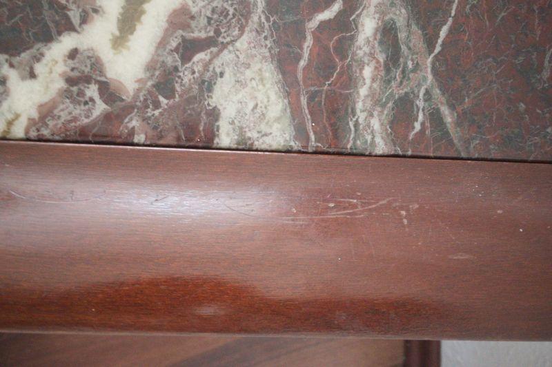 Vintage Couchtisch in Mahagoni Farbe mit Kunst Marmor Platte 70er 6