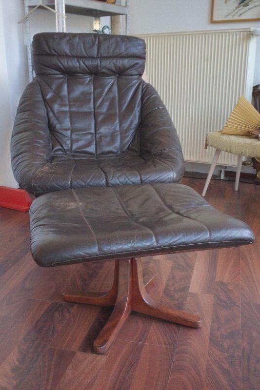 Midcentury Leder Sessel Loungechair mit Ottomane Hocker, drehbar 60er 70er Jahre 1