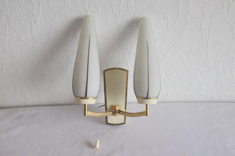Vintage Wandlampe Lampe KAISER mit 2 Gläser 60er Jahre vermessingt