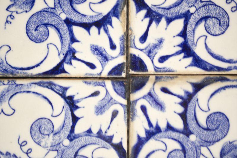 6 Fliesen aus Portugal, Keramik Steingut COMBRA Vintage Küche Bad 50er Jahre 5