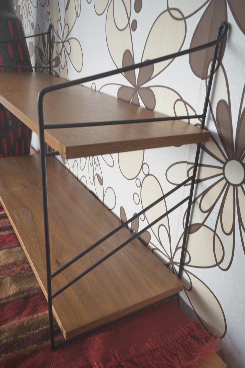 Wandregal Stringregal Bücherregal im String Stil Nussbaum 2 Böden 60er Jahre 2