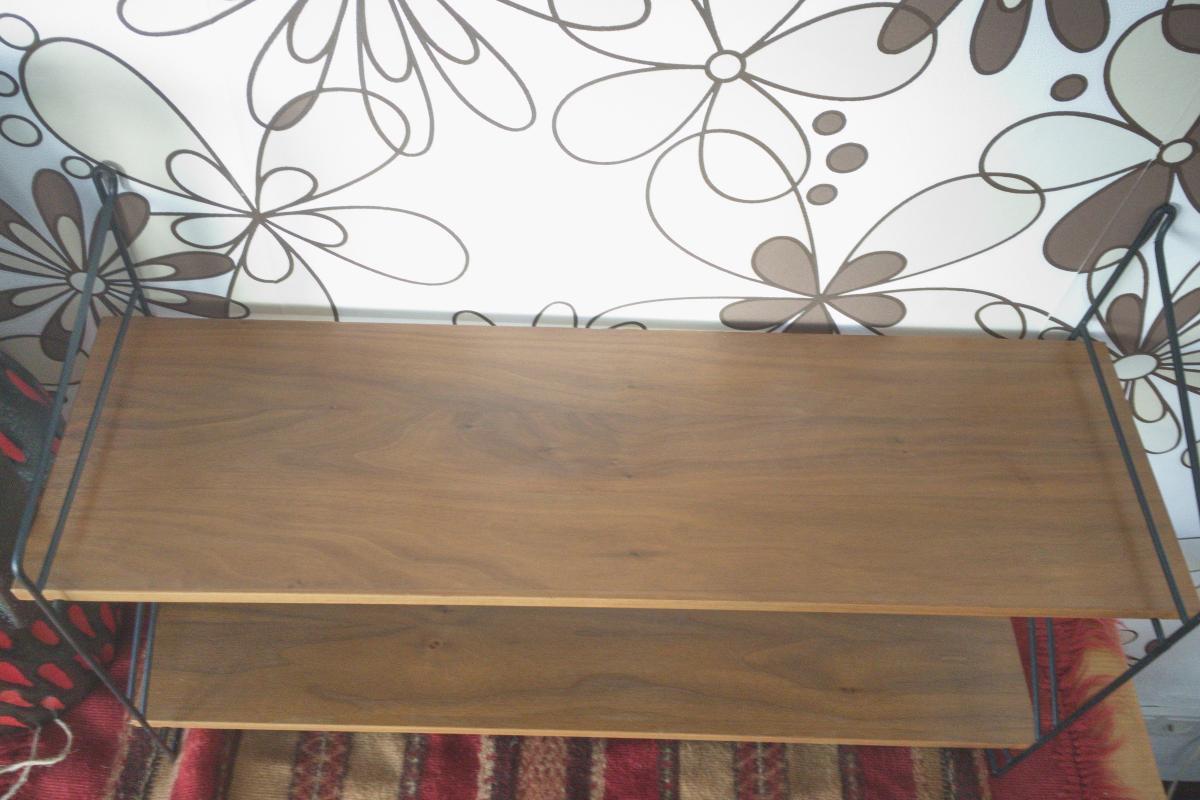 Wandregal Stringregal Bücherregal im String Stil Nussbaum 2 Böden 60er Jahre 3