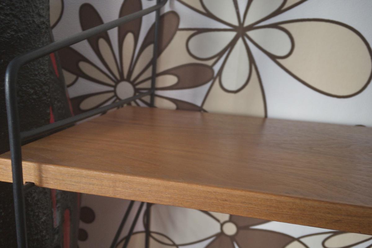 Wandregal Stringregal Bücherregal im String Stil Nussbaum 2 Böden 60er Jahre 4