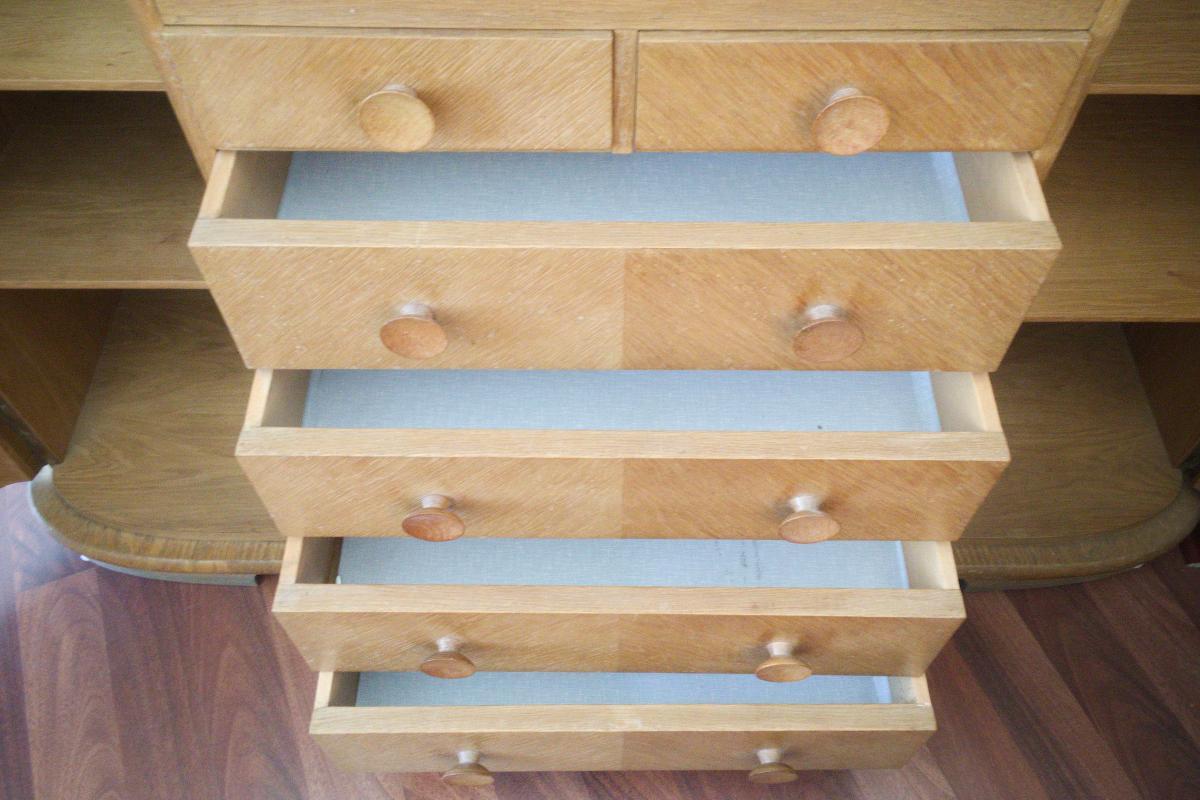 Midcentury Highboard Geschirrschrank Buffet aus Eiche natur 50er 60er 4