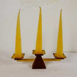 DANISH DESIGN 60er Jahre TEAK Kerzenleuchter 3 Messing Schalen m Kerze Gelb