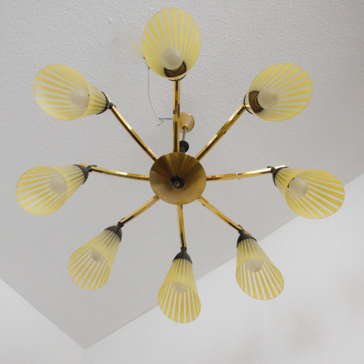 8 armiger leuchter chandelier prunk deckenlampe glastüten true vintage 50er rar 0