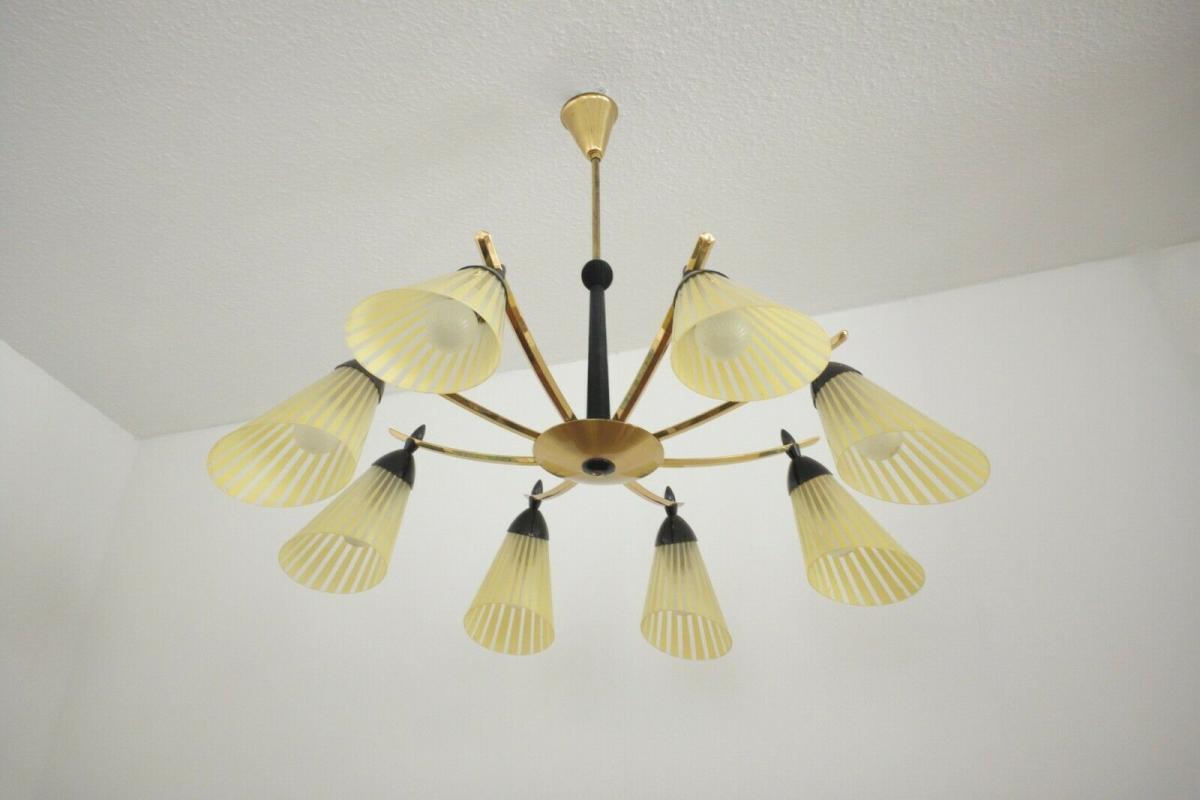 8 armiger leuchter chandelier prunk deckenlampe glastüten true vintage 50er rar 1