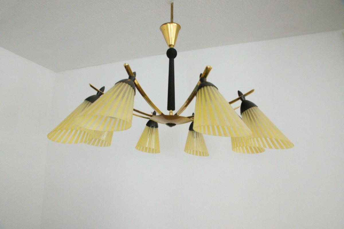 8 armiger leuchter chandelier prunk deckenlampe glastüten true vintage 50er rar 2