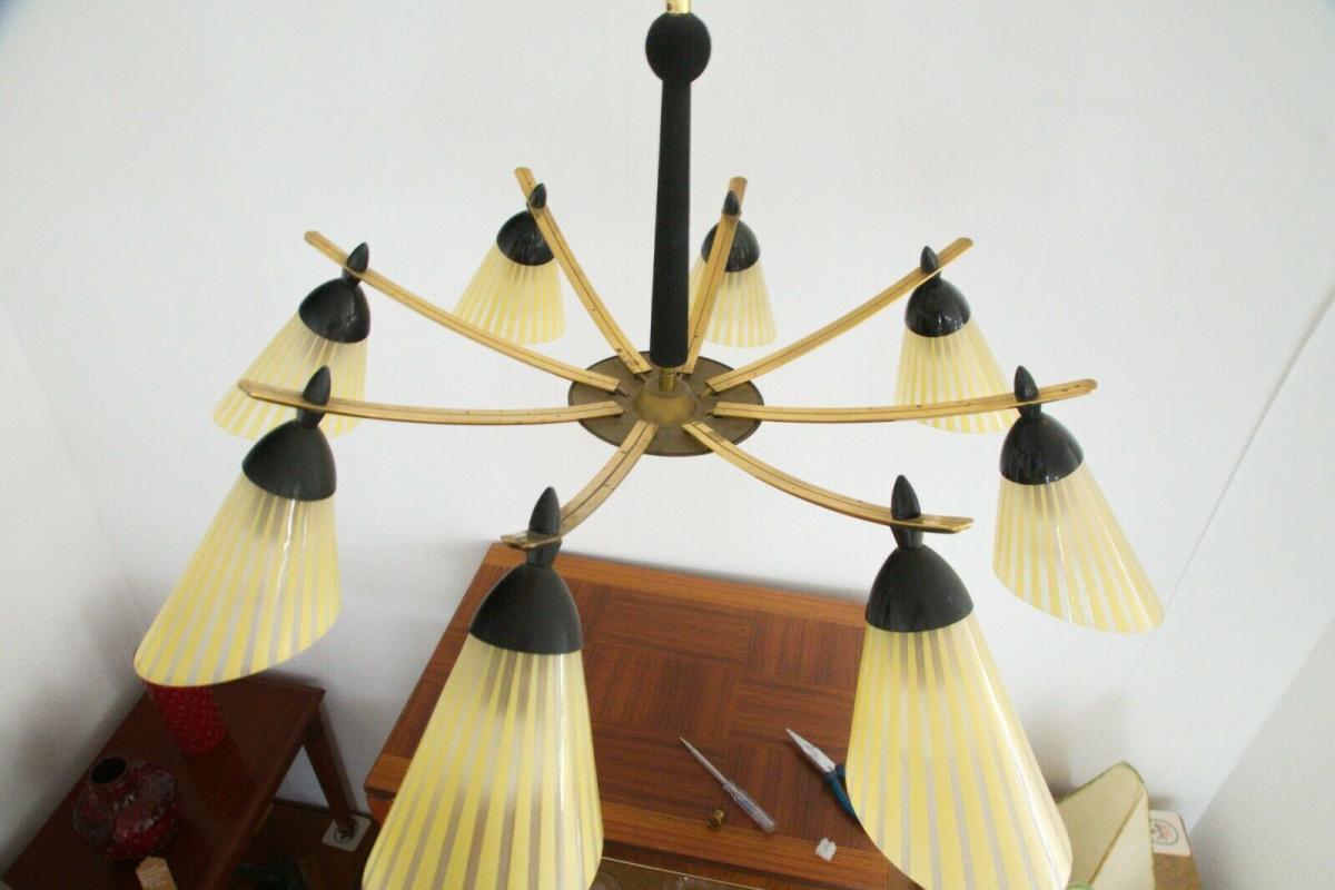 8 armiger leuchter chandelier prunk deckenlampe glastüten true vintage 50er rar 5