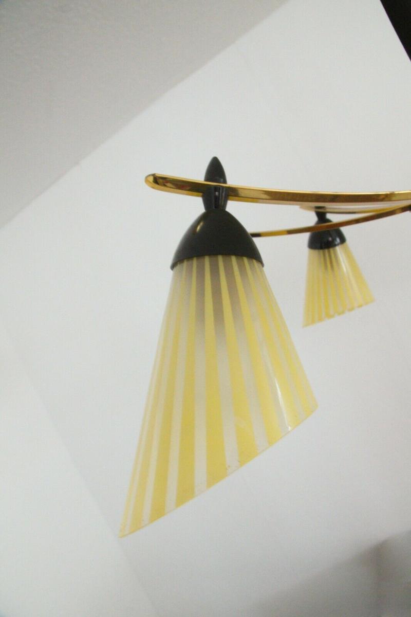 8 armiger leuchter chandelier prunk deckenlampe glastüten true vintage 50er rar 6