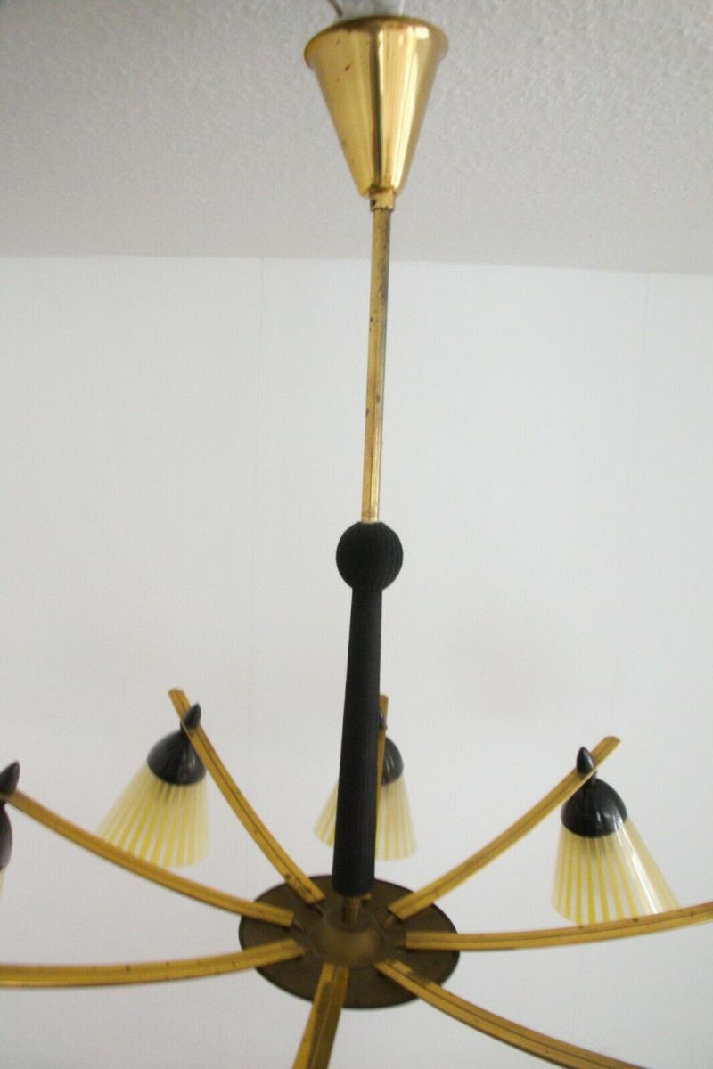 8 armiger leuchter chandelier prunk deckenlampe glastüten true vintage 50er rar 7