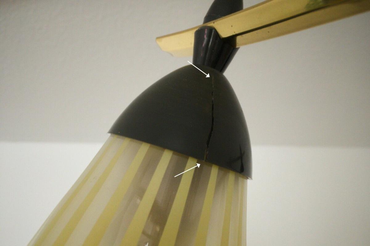 8 armiger leuchter chandelier prunk deckenlampe glastüten true vintage 50er rar 8