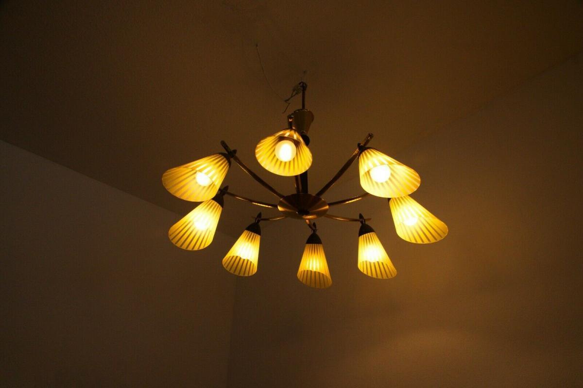 8 armiger leuchter chandelier prunk deckenlampe glastüten true vintage 50er rar 9