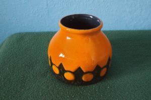Jasba keramikvase orange glasur glazed 1975 09 relief keramik vase 60er jahre