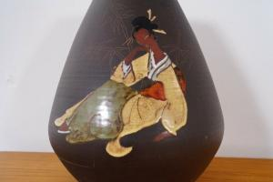 Große Tischvase Keramikvase GEISHA Motiv 547 wohl KIECHLE Keramik 60er Jahre