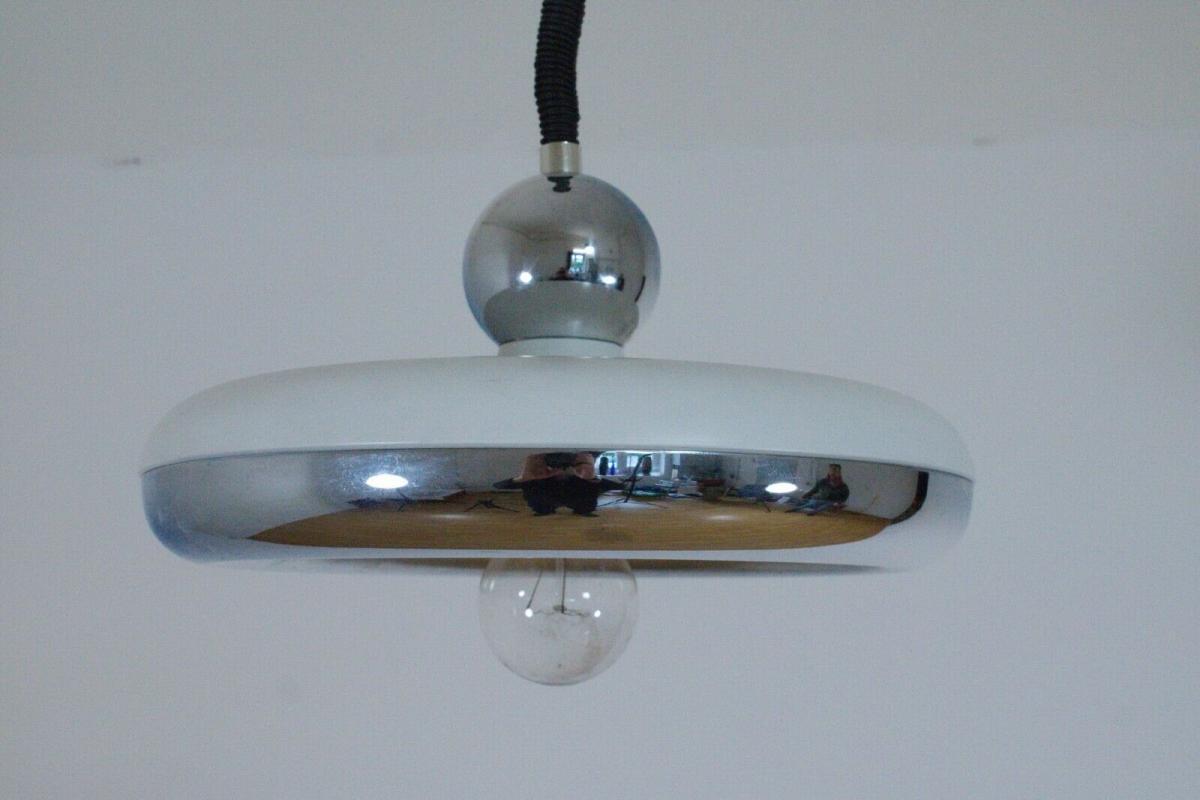 Küchenlampe hängelampe essplatzlampe küche esstisch rund weiß 60er 70er jahre 0