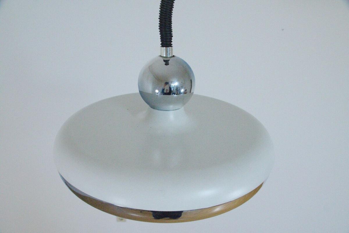 Küchenlampe hängelampe essplatzlampe küche esstisch rund weiß 60er 70er jahre 1