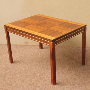 MIDCENTURY Tisch Teatable Beistelltisch TEAK Danish Design Schachmuster 60er