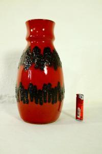 FAT LAVA Tischvase Bodenvase BAY KERAMIK 7030 rot schwarz Vase 60er Jahre