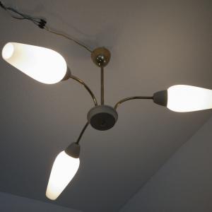 Vintage Sputnik Lampe Deckenlampe Hängelampe SCHRUMPFLACK 3 Arme 50er Jahre