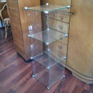 Midcentury Glasregal WÜRFELOPTIK Deko Regal aus Glas steckbar variabel 60er