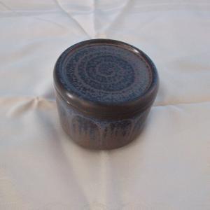 Kmk kupfermühle keramikdose mit deckel deckeldose schmuckdose  60er jahre blau