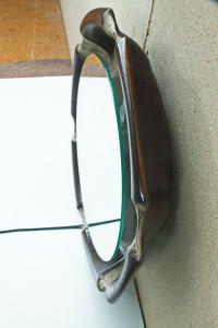 Midcentury Wandspiegel Spiegel Garderobenspiegel CRAQUELE KERAMIK Licht 60er