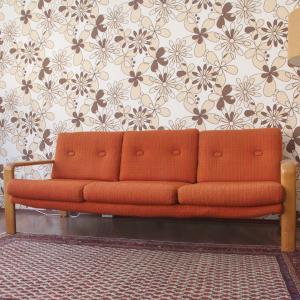 Midcentury Sitzgarnitur Sofa & 2 Sessel COUCHGARNITUR Eiche natur | 60er Jahre