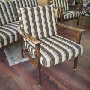 Midcentury Easychair Sessel DANISH DESIGN 50er 60er original Stoffbezug Braun #2