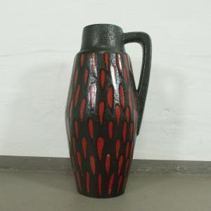 Midcentury Bodenvase Fat Lava SCHEURICH 270 33 rot schwarz Keramikvase 60er
