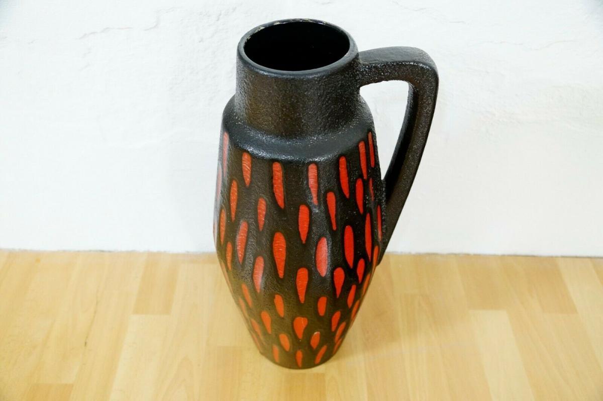 Midcentury Bodenvase Fat Lava SCHEURICH 270 33 rot schwarz Keramikvase 60er 1
