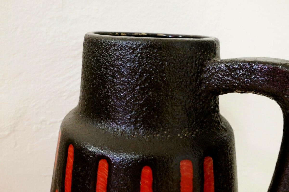 Midcentury Bodenvase Fat Lava SCHEURICH 270 33 rot schwarz Keramikvase 60er 10