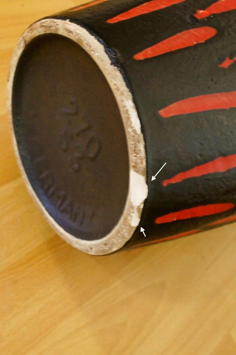 Midcentury Bodenvase Fat Lava SCHEURICH 270 33 rot schwarz Keramikvase 60er 11