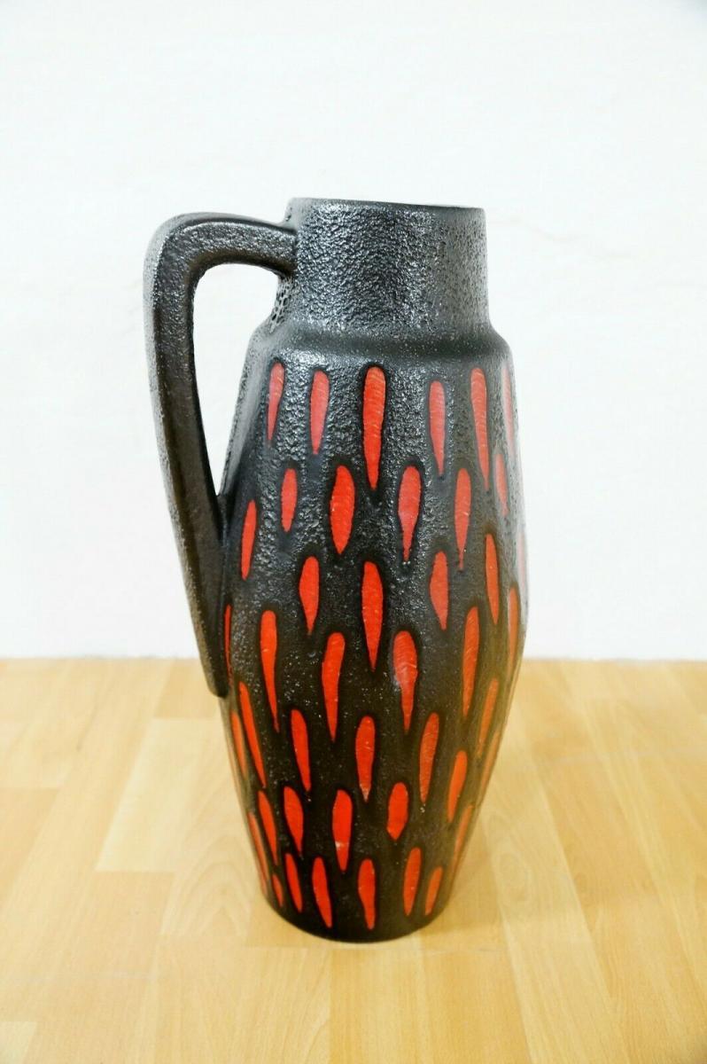 Midcentury Bodenvase Fat Lava SCHEURICH 270 33 rot schwarz Keramikvase 60er 3