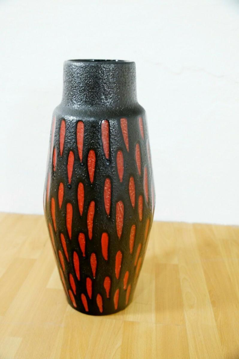 Midcentury Bodenvase Fat Lava SCHEURICH 270 33 rot schwarz Keramikvase 60er 4
