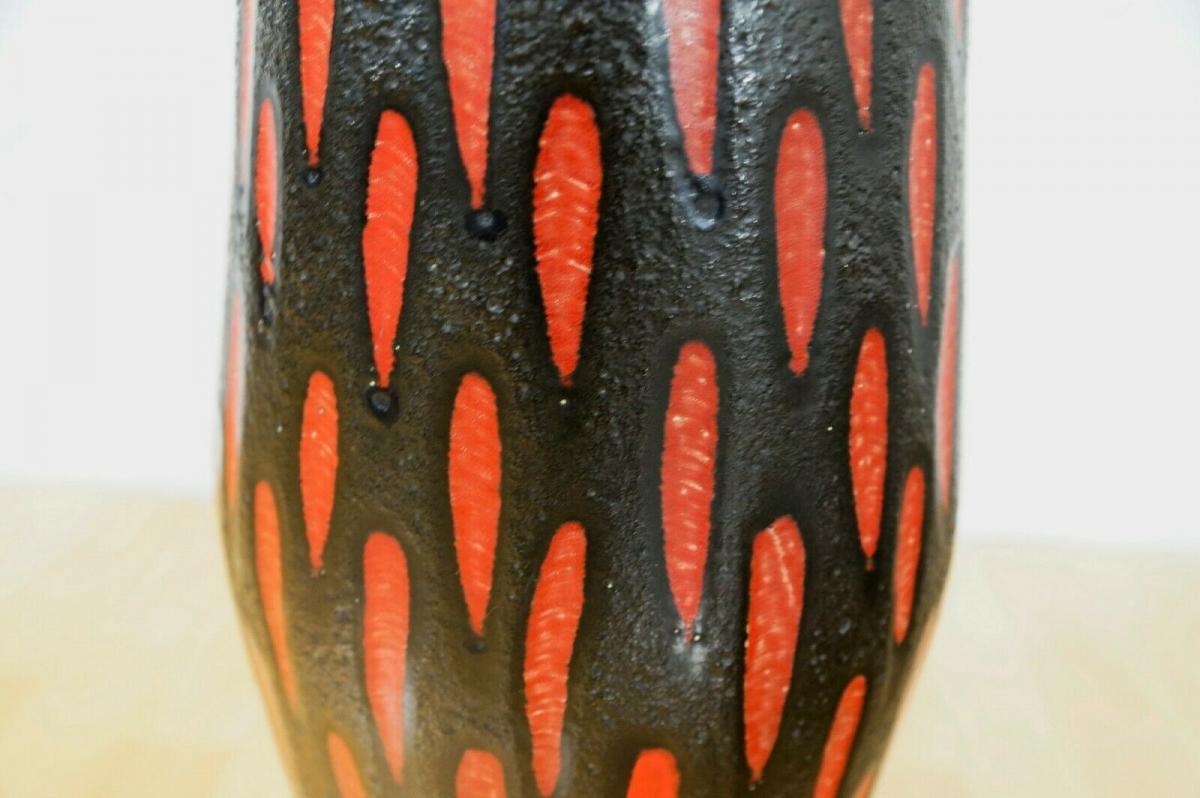 Midcentury Bodenvase Fat Lava SCHEURICH 270 33 rot schwarz Keramikvase 60er 6