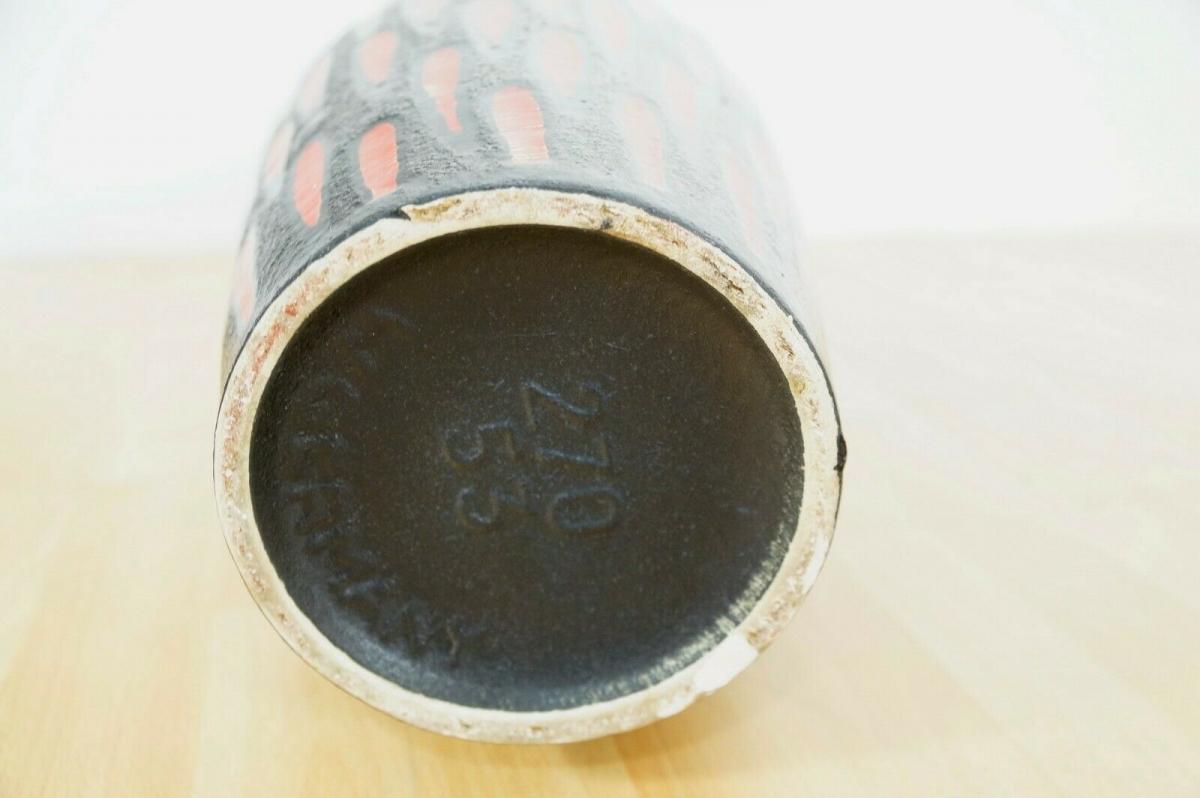 Midcentury Bodenvase Fat Lava SCHEURICH 270 33 rot schwarz Keramikvase 60er 7