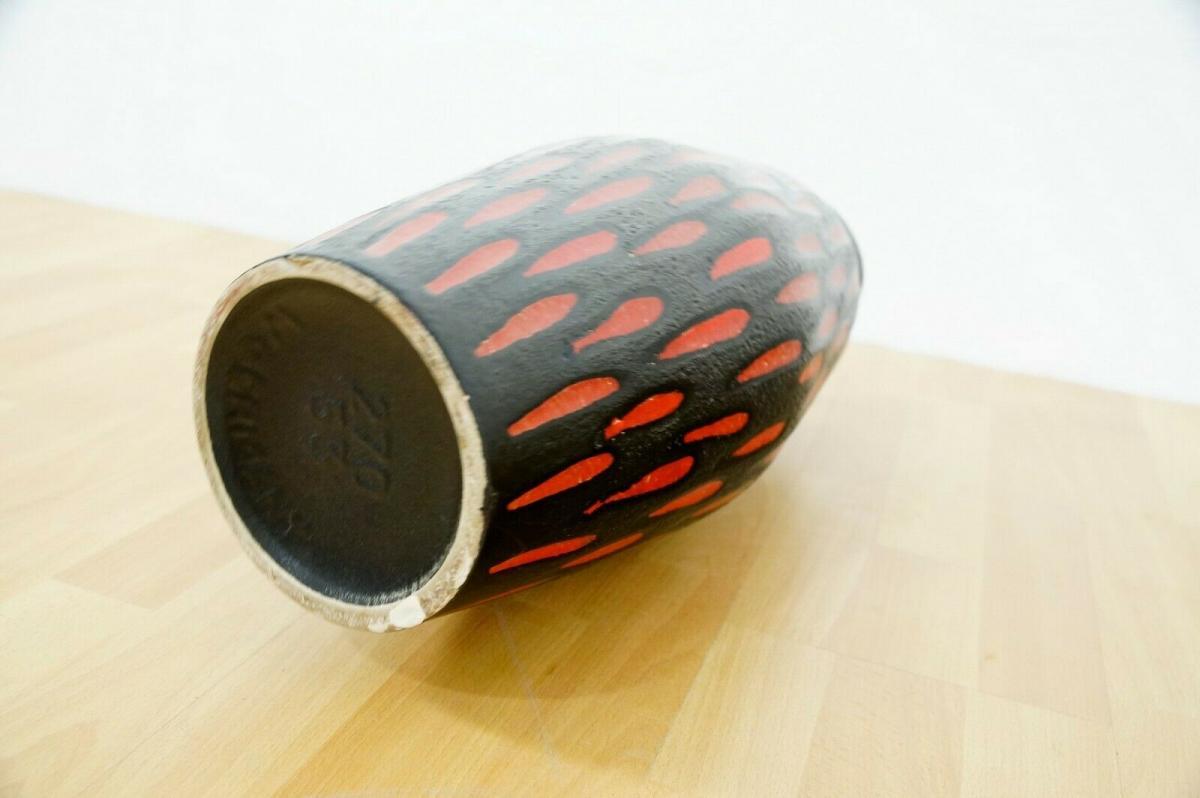Midcentury Bodenvase Fat Lava SCHEURICH 270 33 rot schwarz Keramikvase 60er 8