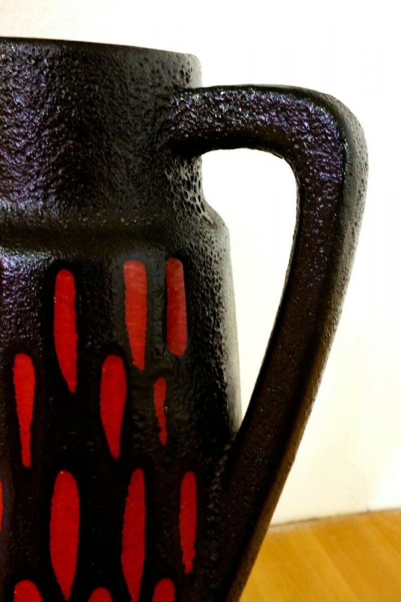 Midcentury Bodenvase Fat Lava SCHEURICH 270 33 rot schwarz Keramikvase 60er 9