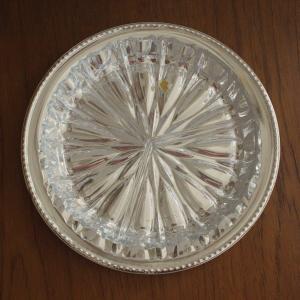 Kristallglas Schale Anbietschale mit Edelstahl Teller Snakschale Glas 50er 60er