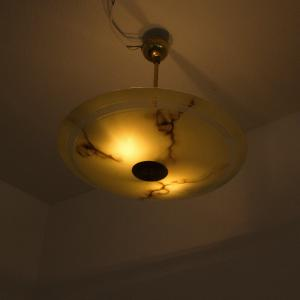 Hängelampe tellerlampe flur schlafzimmer 50 cm mamoriert deckenlampe 50er jahre