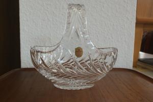 Kristallglas Schale von SALCO Mundgeblasen Handgeschliffen Korbschale 50er 60er