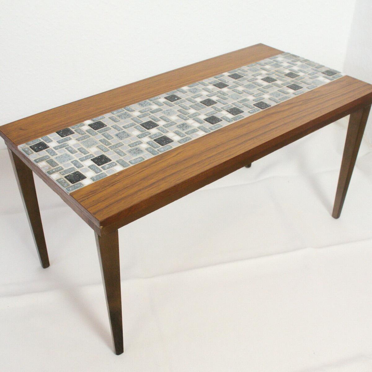 Midcentury blumenbank mosaik bank in nussbaum kunststoff furnier 60er jahre 0